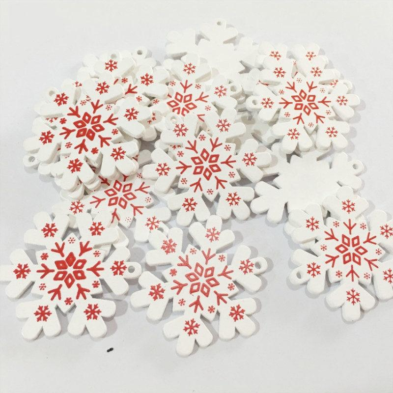 Soft Porium White / Snow Flakes New Year and Christmas Wood Ornaments