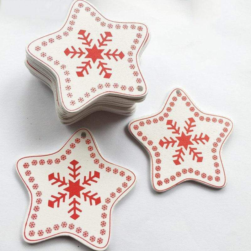 Soft Porium White / Star Frost New Year and Christmas Wood Ornaments