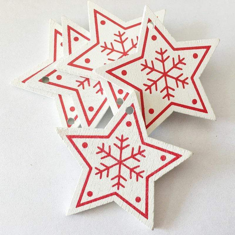 Soft Porium White / Star New Year and Christmas Wood Ornaments
