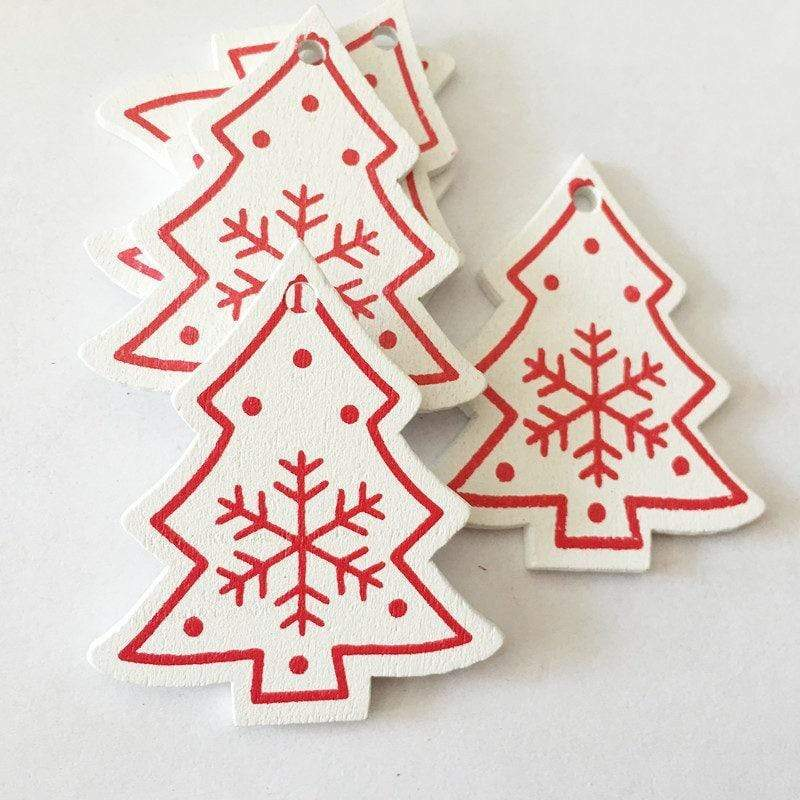 Soft Porium White / Tree Snow Flakes New Year and Christmas Wood Ornaments