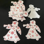 Soft Porium White / Trumpet Angel New Year and Christmas Wood Ornaments