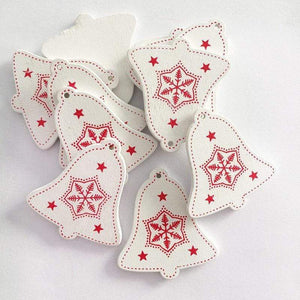 Soft Porium White / Xmas Bell New Year and Christmas Wood Ornaments
