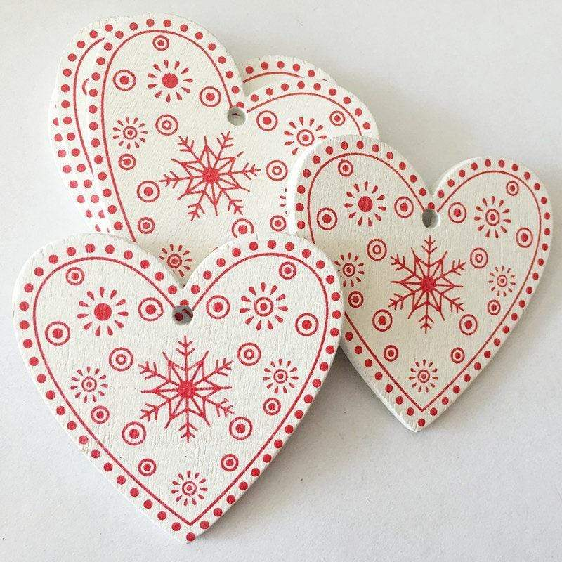 Soft Porium White / Xmas Heart New Year and Christmas Wood Ornaments