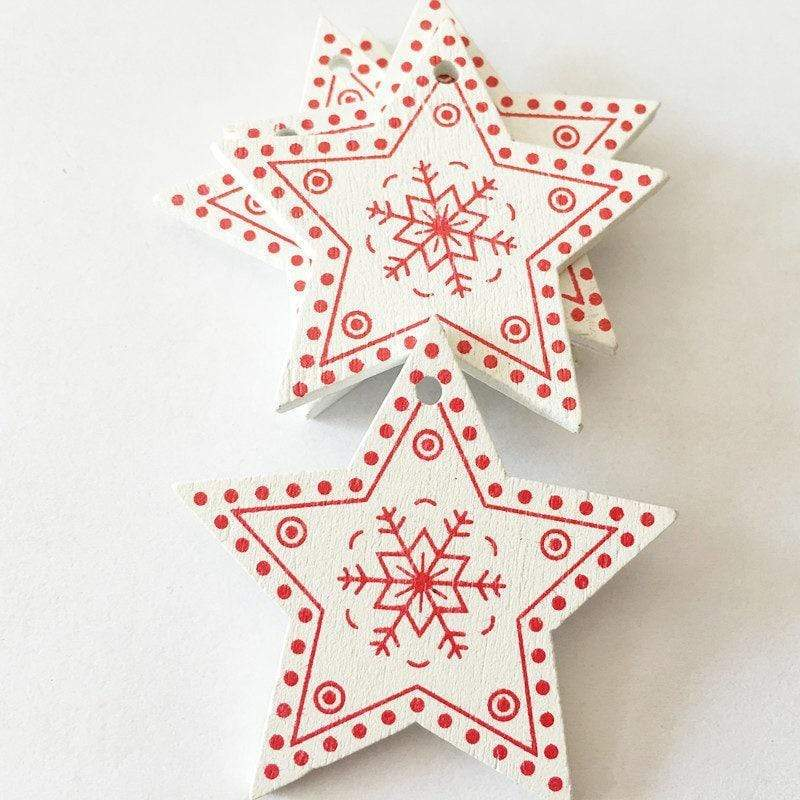 Soft Porium White / Xmas Star New Year and Christmas Wood Ornaments