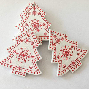 Soft Porium White / Xmas Tree New Year and Christmas Wood Ornaments
