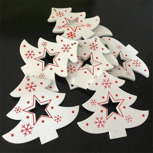Soft Porium White / Xmas Tree Star New Year and Christmas Wood Ornaments