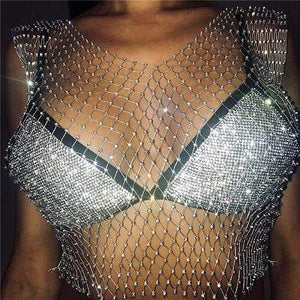 Soft Porium women crop top Silver V-neck / One Size Festival Queen Sexy Diamonds Mesh Cropped Tank Top