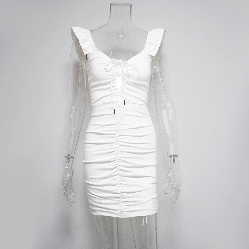 Soft Porium women dress White / S Short Butterfly Pleated Sexy Mini Dress