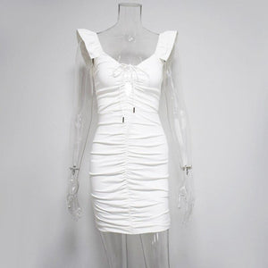 Soft Porium women dress White / XL Short Butterfly Pleated Sexy Mini Dress