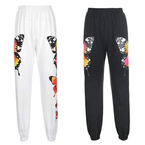 Soft Porium women sweatpants Butterfly Print Tracksuit Women Sweatpants Two Piece Set
