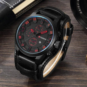 Soft Porium - Your Mega-Superstore For Great Deals Black Black Male Leather Wristwatch