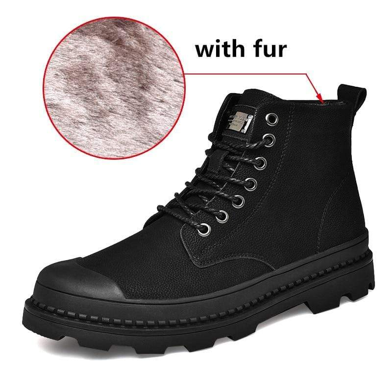 Soft Porium - Your Mega-Superstore For Great Deals Black with Fur / 12 Black Warm Winter Men Boots