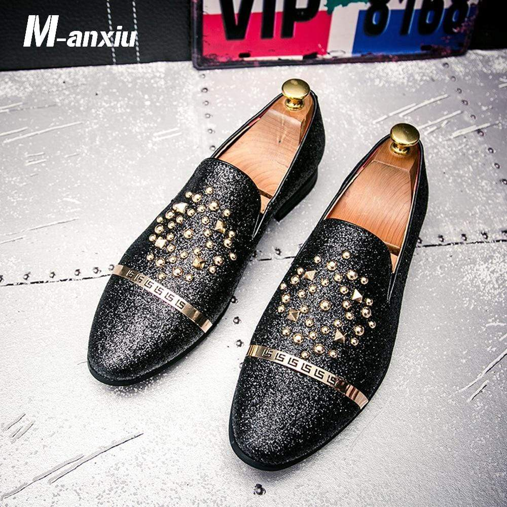 Soft Porium - Your Mega-Superstore For Great Deals Silver Black Diamond Rhinestones Spiked Rivets Brand Men Loafers Shoes