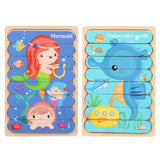 Montessori 3D Wooden Puzzle Baby Toys Educational Toys Plays Cognition Cartoon Grasp Intelligence Puzzles For Kids Wooden Toys