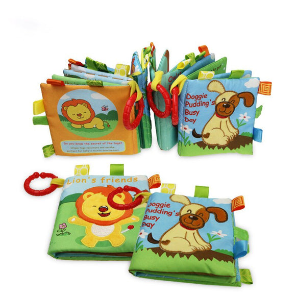 Cloth Books Baby Toys 0 12 Months Montessori Educational Soft Rattle Newborn Kid Children Development Animals Lions Fabric Books