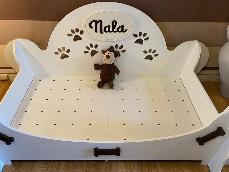 """PAWFECTLY UNIQUE"" ""Barkley"" Personalised Wooden Dog Bed Multi Colour Choices S, M and L, Barkley dog bed, sophistipaws, sophistipaws"