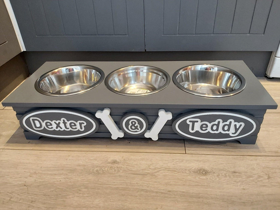 """PAWFECTLY UNIQUE"" Personalised 3 Bowl Triple Wooden Dog Feeding Station Multi Colour Choices S, M, 3 bowl Personalised Dog Feeding Station, sophistipaws, sophistipaws"