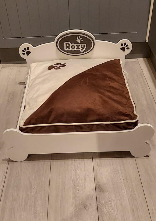 """PAWFECTLY UNIQUE"" ""Daisy"" Personalised Wooden Dog Bed Multi Colour Choices S, M and L, Daisy dog bed, sophistipaws, sophistipaws"