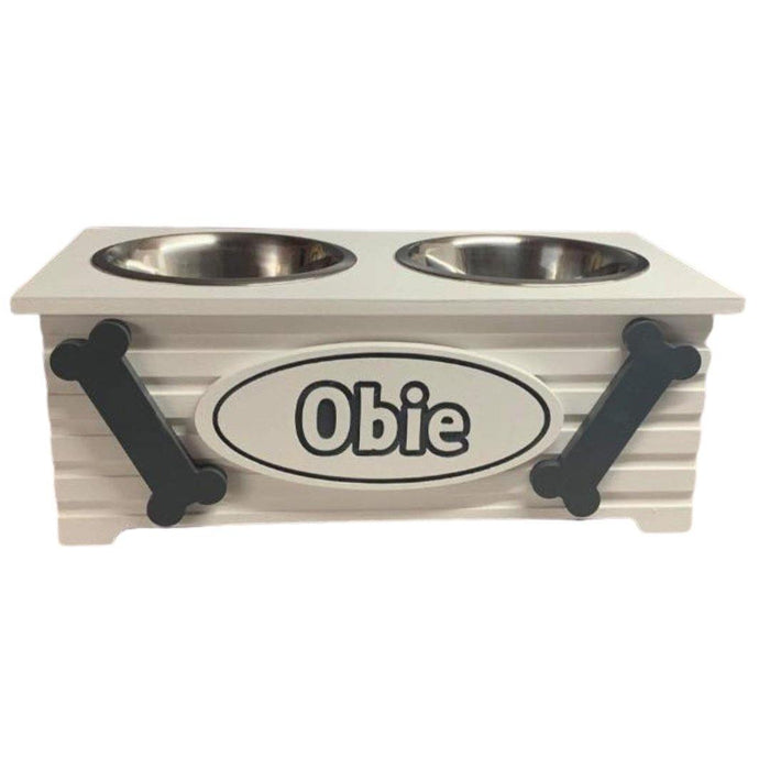 """PAWFECTLY UNIQUE"" Personalised Raised 2 Bowl Wooden Dog Puppy Feeding Station Multi Colour Choices M, Medium 2 Bowl Raised Dog Feeding Station, sophistipaws, sophistipaws"