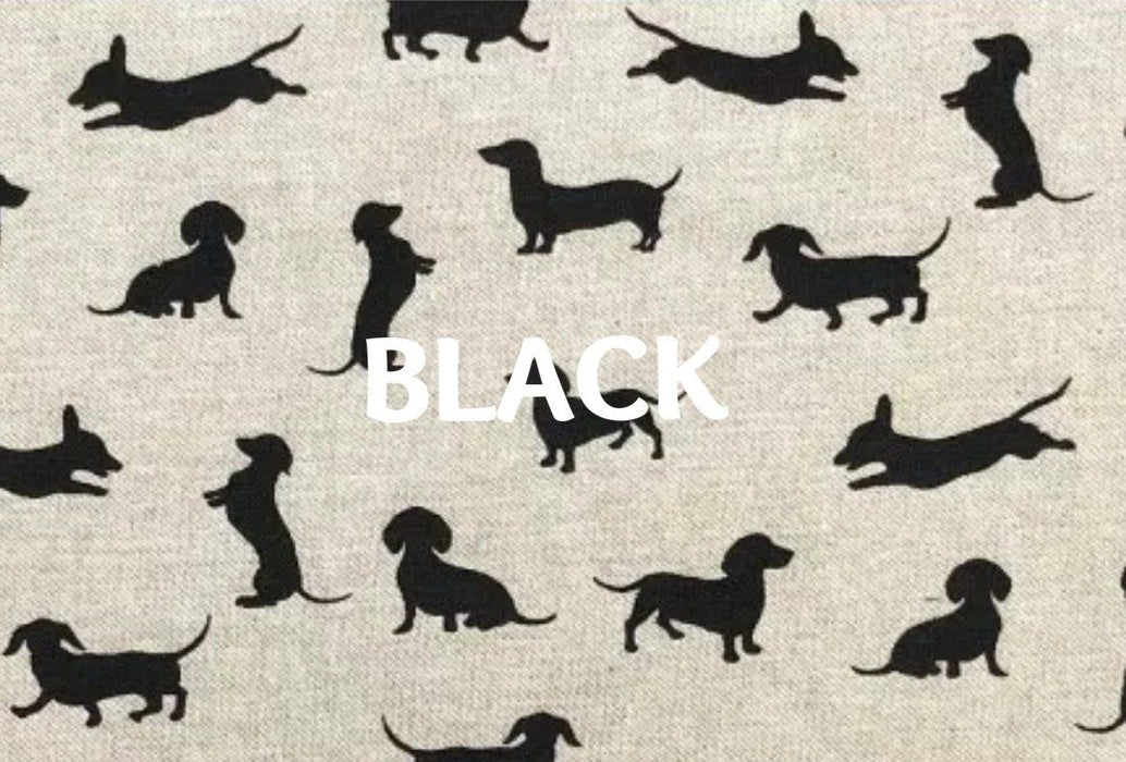 CRATE COVER FOR DOG CUTE DACHSHUND DESIGN FABRIC HANDMADE IN THE UK ONE SIZE BLACK, GREY AND BLACK COLOUR CHOICES