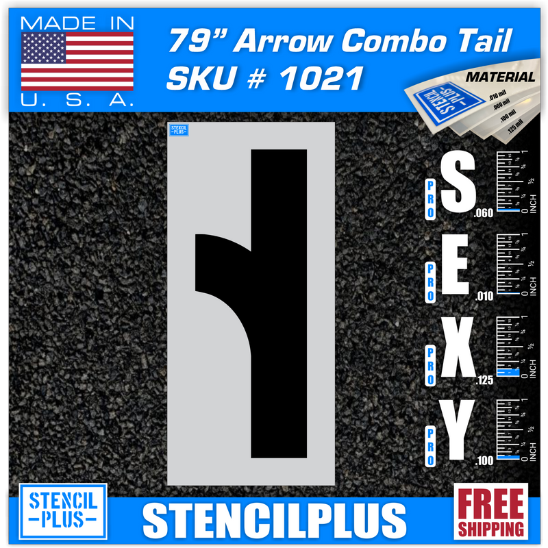 "79"" Combo Arrow Tail Parking Lot Pavement Marking Stencil"