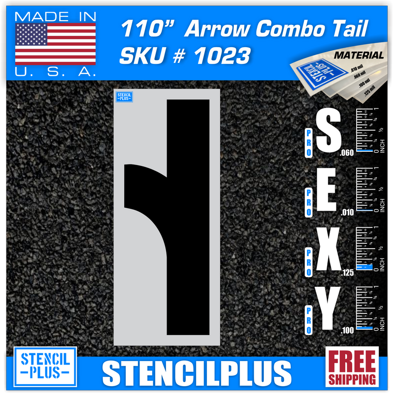 "110"" Combo Arrow Tail Parking Lot Pavement Marking Stencil"