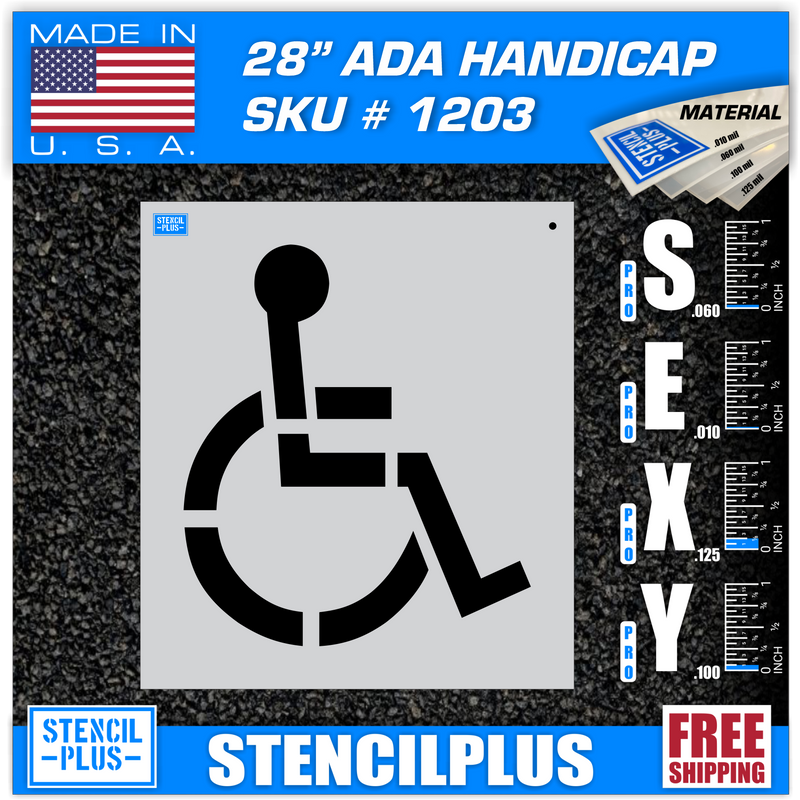"28"" Handicap Stencil Parking Lot Pavement Marking Stencil"