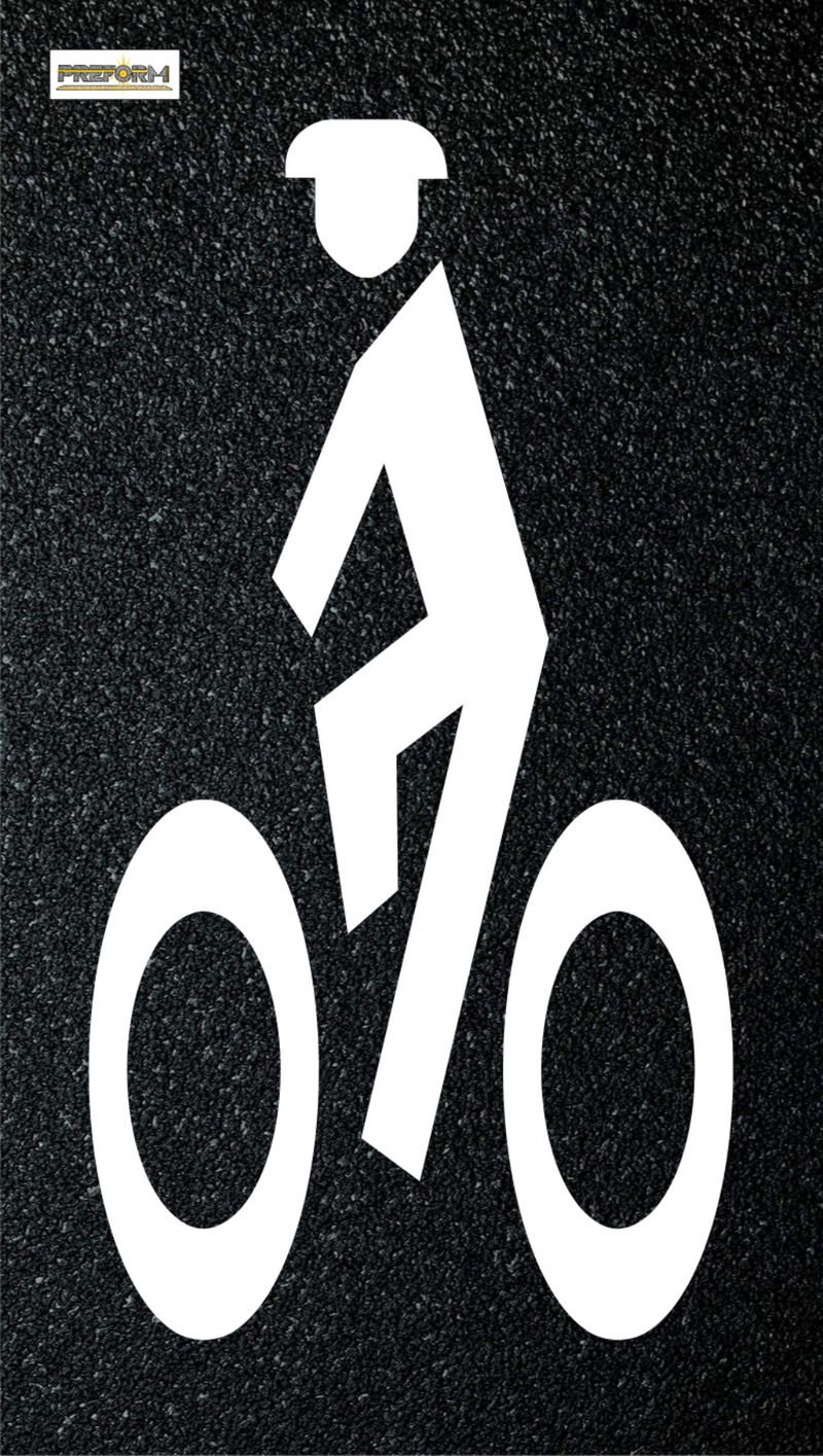 "Preformed Thermoplastic Preform Bike Lane Symbol W/Man 24""x12"""