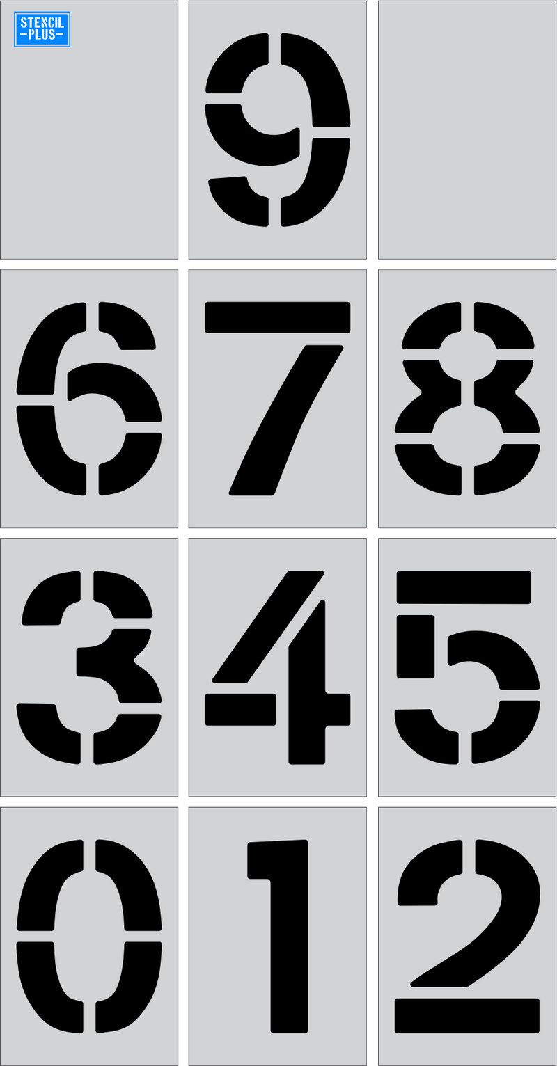 "3"" Number Kit Parking Lot Pavement Marking Stencil"