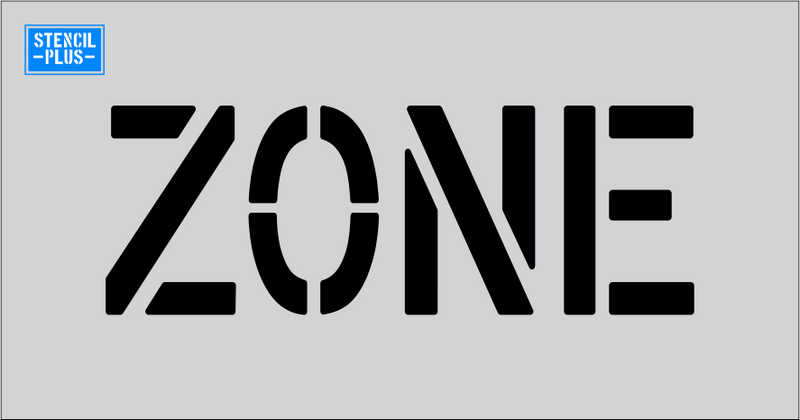 "6"" Word - ZONE Parking Lot Pavement Marking  Stencil"