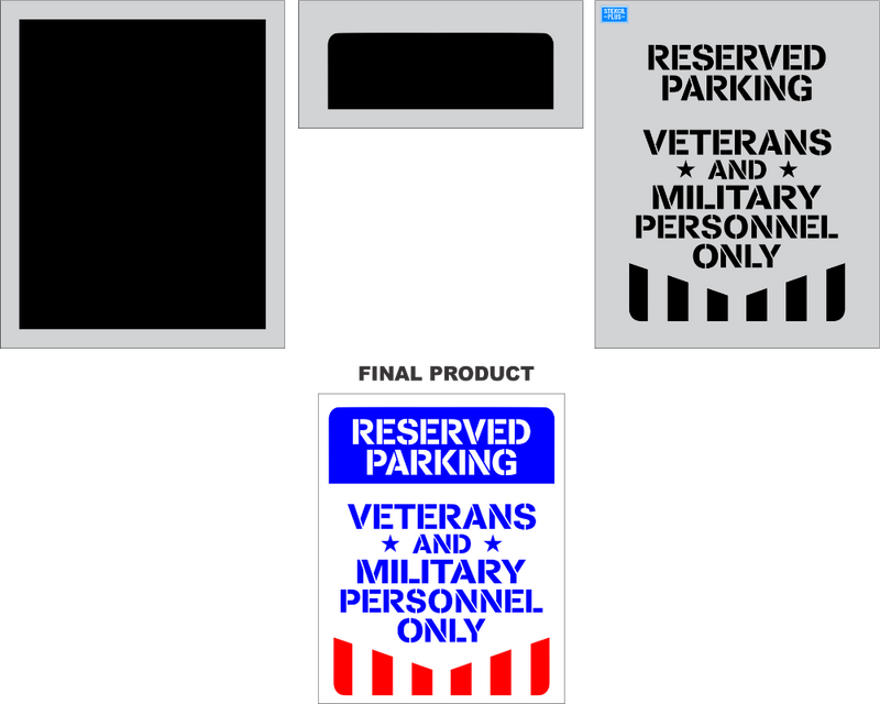 Reserved Parking Veterans & Military Personnel Only 3 Color 3 pc Stencil Pavement Marking Parking Lot Stencil
