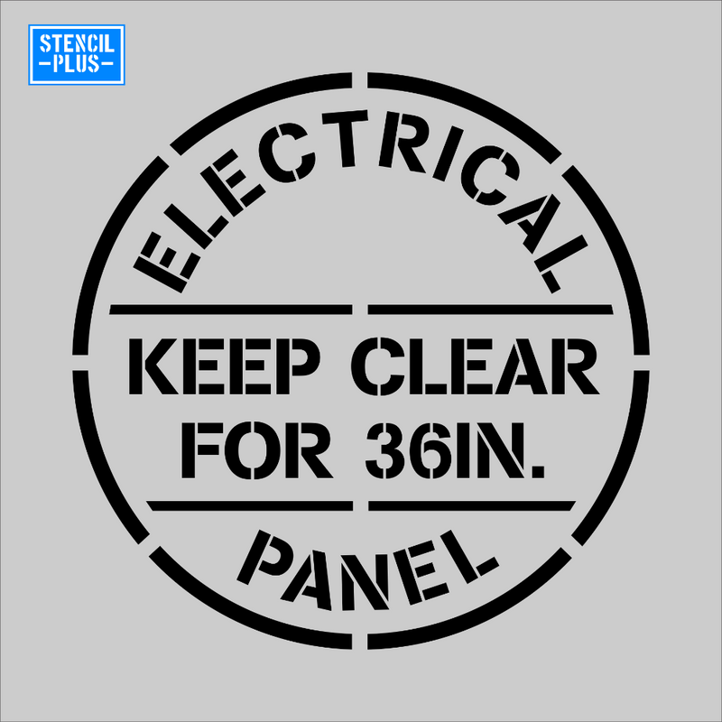 Circular ELECTRICAL PANEL KEEP CLEAR FOR 36IN Warehouse Industrial Safety OSHA Stencil