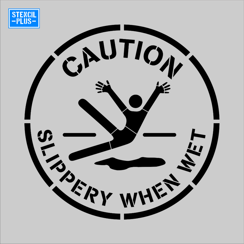 CAUTION SLIPPERY WHEN WET Safety Stencil Warehouse Industrial OSHA stencil