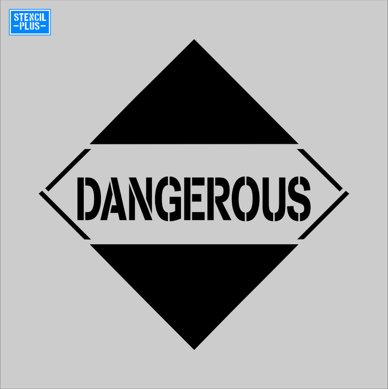 DANGEROUS Symbol Safety Warehouse Industrial OSHA Pavement Marking Stencil