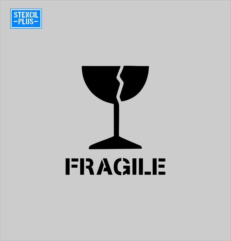 Fragile with Cracked Cup Symbol Warehouse Industrial Safety Shipping Department Stencil