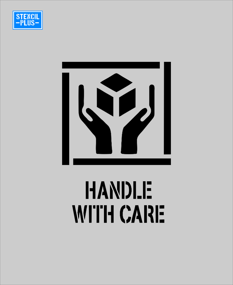 Handle with Care with Box and Hands Symbol Warehouse Industrial Safety Shipping Department Stencil