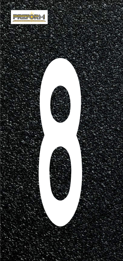"Preformed Thermoplastic Individual Numbers 6"" Pavement Marking"