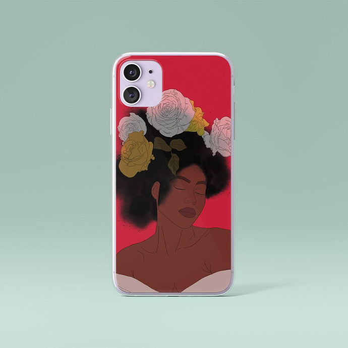Red iPhone Case Black Woman Print