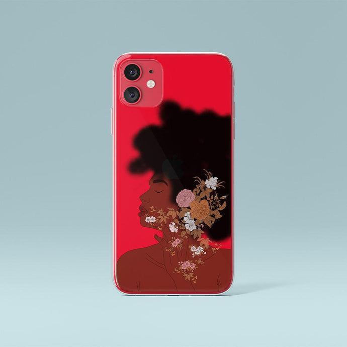 Custodia rossa per iPhone Afro Woman