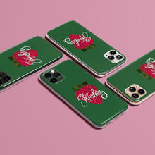Load image into Gallery viewer, Green iPhone Case Strawberry print