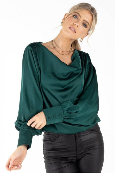 ZIBI LONDON LULA GREEN COWL NECK GOING OUT TOP
