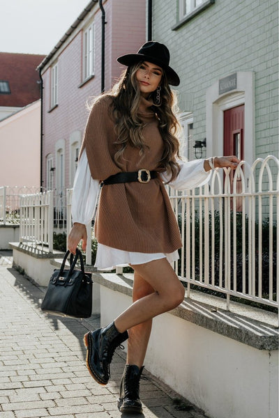 JENERIQUE HIGH NECK KNITTED PONCHO IN CAMEL COLOUR