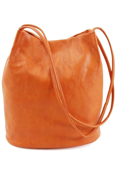 WOODLAND LEATHERS WOODLAND LEATHERS PU LEATHER ORAGE SHOULDER BUCKET BAG WITH THIN STRAPS