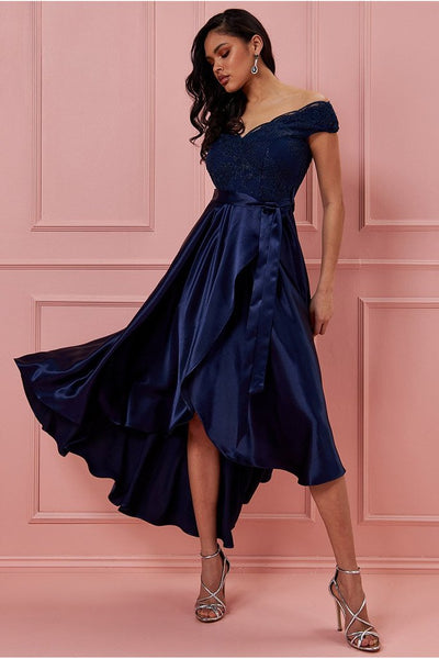 GODDIVA SCALLOPED NECK HIGH LOW MIDI DRESS - NAVY