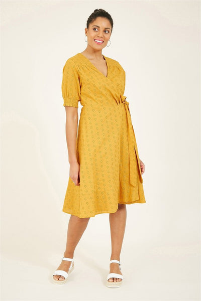 YUMI MUSTARD COTTON BRODERIE ANGLAISE WRAP DRESS
