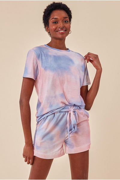 COSMOCHIC TIE-DYE OVERSIZED T-SHIRT AND SHORT TWO PIECE SET - PINK