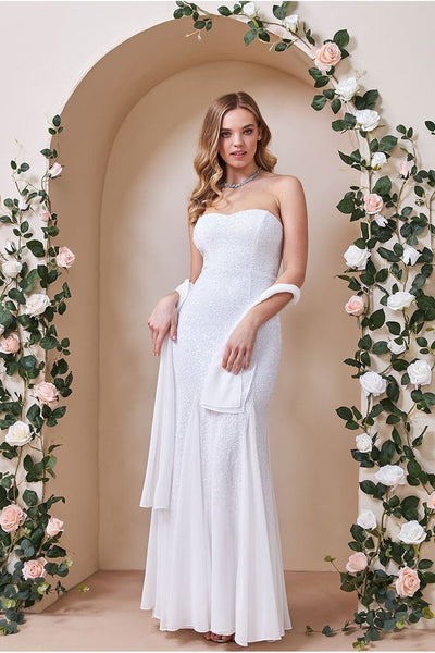 BANDEAU SEQUIN AND CHIFFON MAXI WEDDING DRESS - WHITE