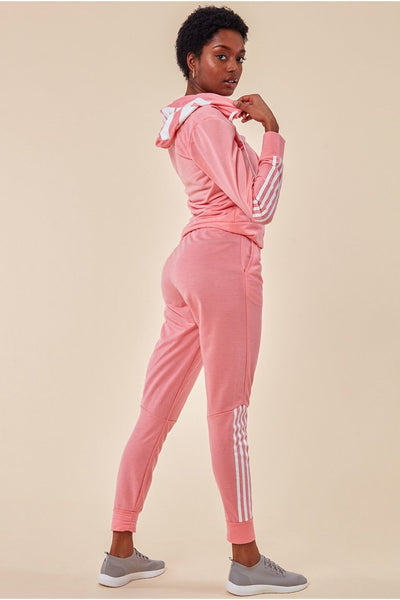COSMOCHIC STRIPE DETAIL HOODED TRACKSUIT - PINK