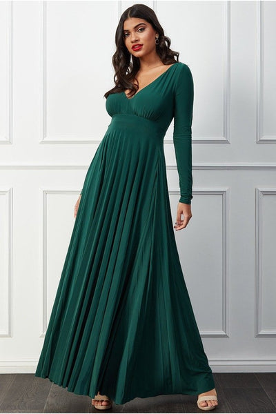 GODDIVA PLUNGE V-NECK PLEATED SKIRT MAXI DRESS - BOTANICALGREEN