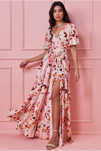 GODDIVA FLORAL PRINT MAXI WITH FLUTTER SLEEVES - PEACHFLORAL
